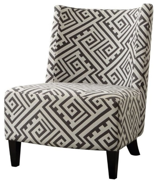 Furniture of America Ammie Transitional Wood Accent Chair in Black and White