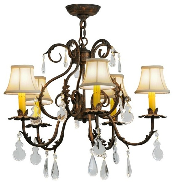 """26"""" Chantilly 5-Light W and Crystals Chandelier"""