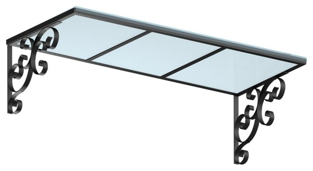 """78"""" Wide Providence Window/door Awning, Aluminum/polycarb, Black/clear."""