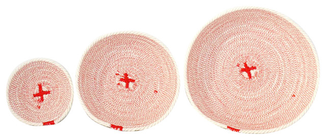 Cotton Rope Bowls, Coral Red, Set of 3