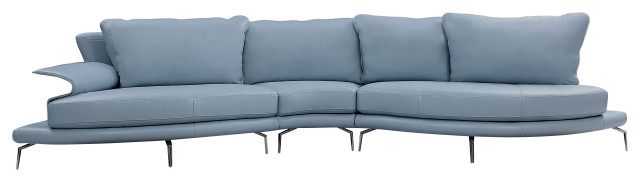 Divani Casa Andover Modern Blue and White Sectional Sofa
