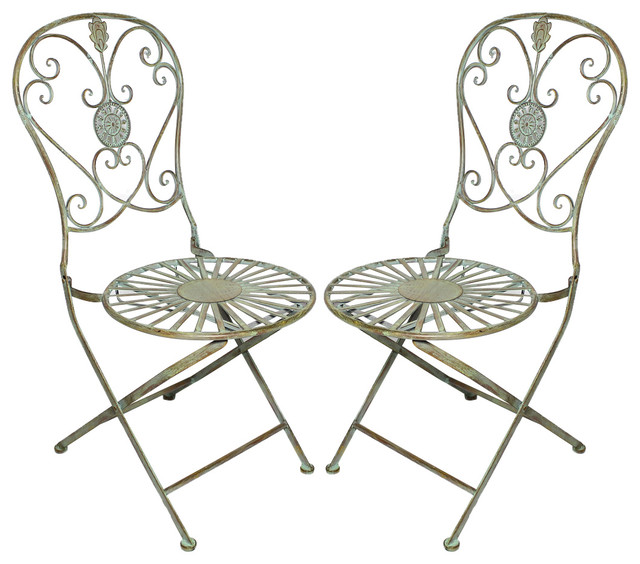 Folding Metal Bistro Chair With Scrolling Heart U0026 Peacock Tail Motif, Set  Of 2 Traditional