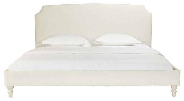 Jackie Beige Upholstered Panel Bed With Scoop Corner Headboard, Queen, King.