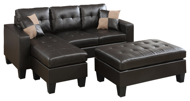 Superb Piacenza Sectional Sofa With Ottoman In Espresso Bonded Leather Ncnpc Chair Design For Home Ncnpcorg