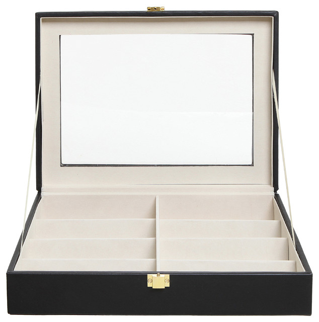 8-Slot Sunglasses And Eyeglasses Display Case With Clear Lid.