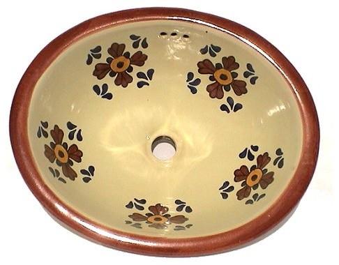 Brown Seville Ceramic Talavera Sink Bathroom Sinks