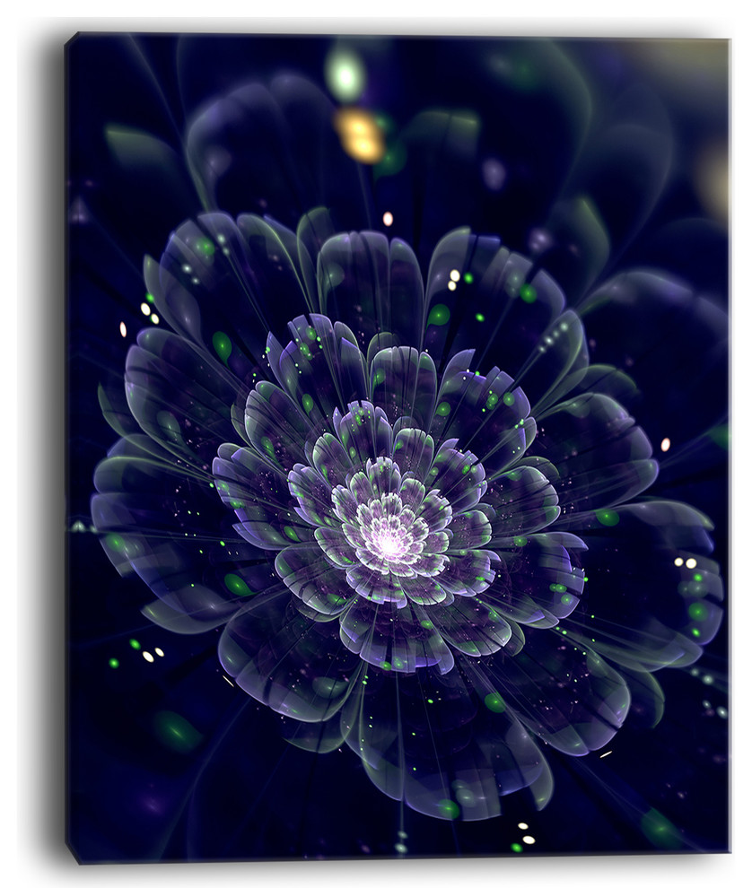 Dark Blue Fractal Flower Digital Art Large Canvas Print Contemporary Prints And Posters By Design Art Usa