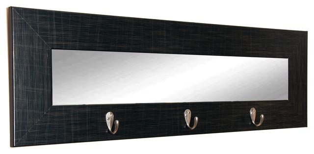 Brandtworks Last Look Black Wall Mirror With Hooks, 32.5x10.5.