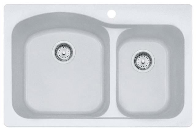 "Franke Dig62f91 Gravity Double Basin Undermount/drop, 10007 Sink, White, 33""."