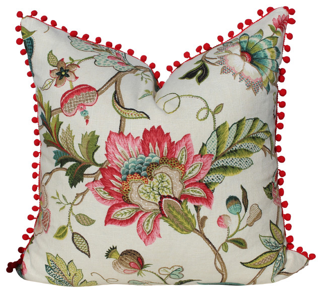 Decorative Pillows With Trim : Flower Print Linen Pillow Cover With Pompom Trim - Traditional - Decorative Pillows - by PillowFever