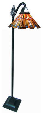 """61"""" Stained Glass Mission Style Pharaoh&x27;s Jeweled Sidearm Floor Lamp."""