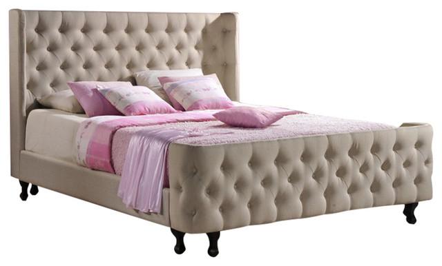 Phenomenal Francesca Beige Linen Modern Platform King Size Bed Andrewgaddart Wooden Chair Designs For Living Room Andrewgaddartcom