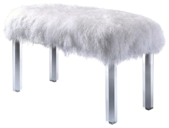 1perfectchoice Bagley Bench, Wool And Clear Acrylic.
