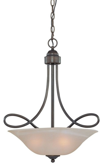 Craftmade Cordova 3-Light Inverted Pendant, Old Bronze.