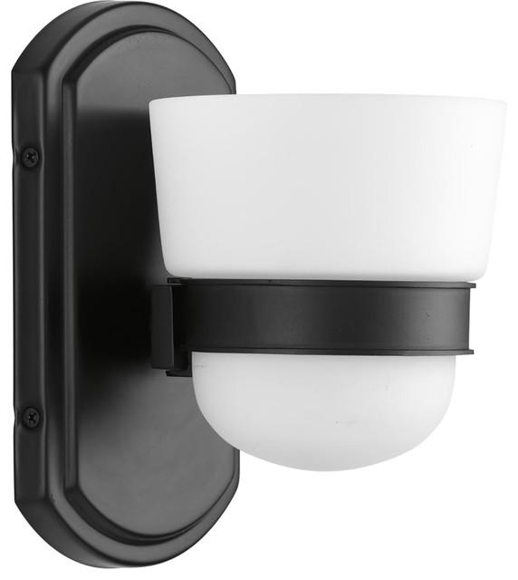 Index 1-Light Bath Vanity, Black, Etched Opal Glass