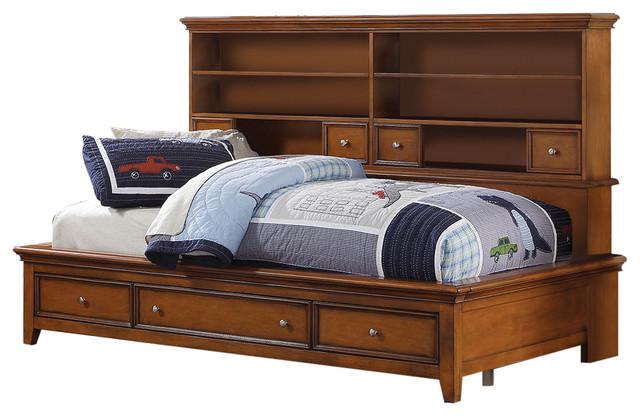 Gilbert Cherry Oak Big Bookcase Storage Bed, Twin Size.
