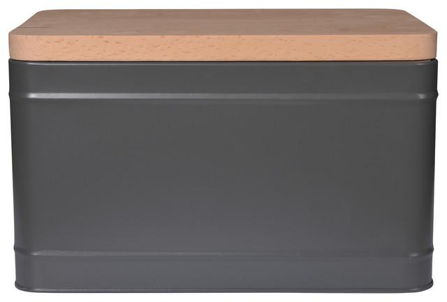 Borough Steel Bread Box in Charcoal Grey