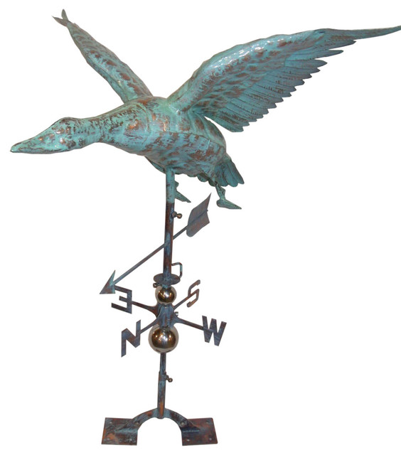 3 Dimensional Flying Duck Weathervane Patina Copper Contemporary Weather Vanes By Furniture Barn Usa Houzz