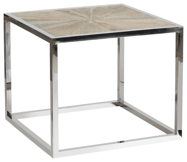Franklin Chrome End Table With Reclaimed Wood Top