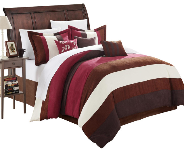 Cathy Microsuede Burgundy Brown Ivory Queen 7 Piece Comforter Bed In A Bag