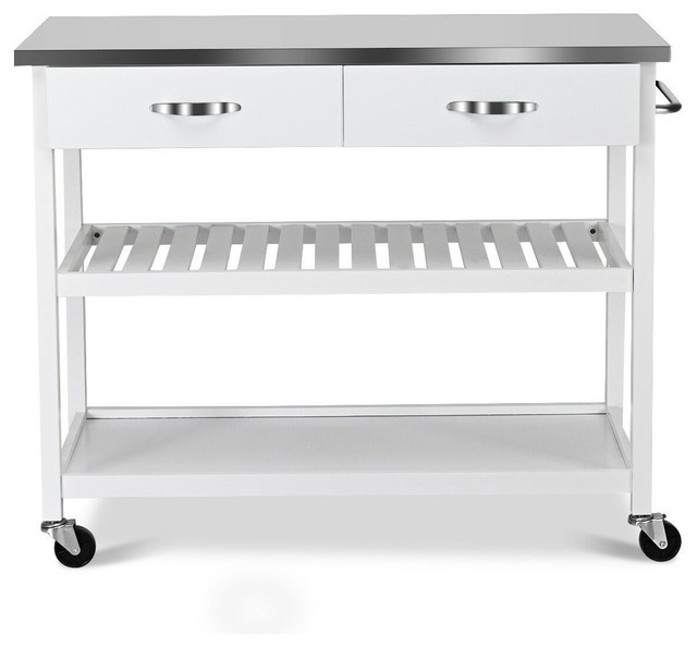 Modern Rolling Kitchen Trolley Cart Island With Stainless Steel  Counter-top, Whi