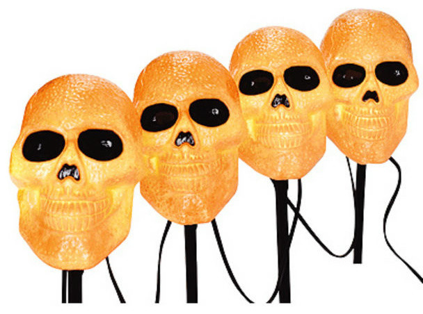 Sylvania V35090-88 Halloween Lighted Skull Pathway Marker W/black Wire, 4-Piece.