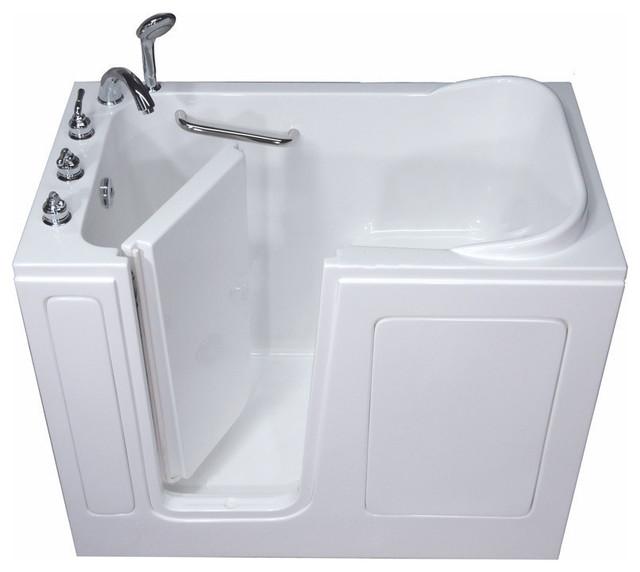 Pearl Series Walk In Tub, White, Soaking Tub, Left Hand