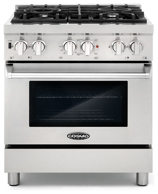 30 Dual Fuel Range With 4 Italian Gas Burners And Electric Convection Oven