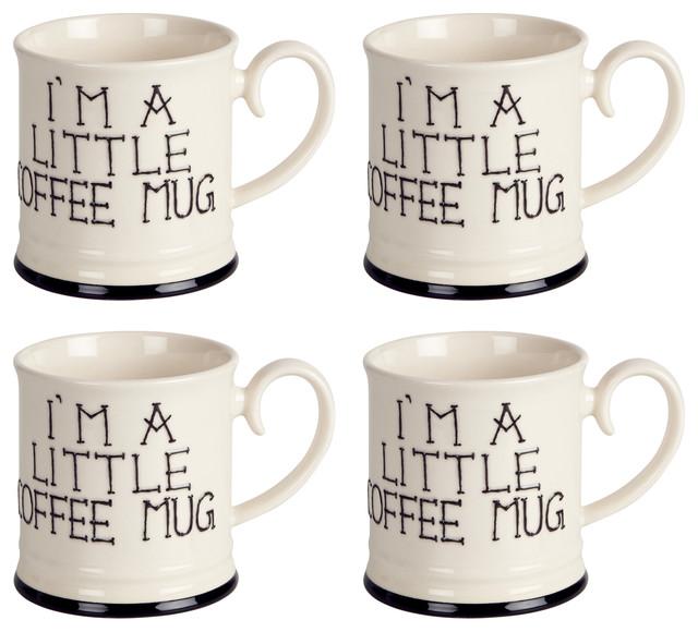 Fairmont and Main I'm a Little Tankard Mugs, Set of 4, Coffee