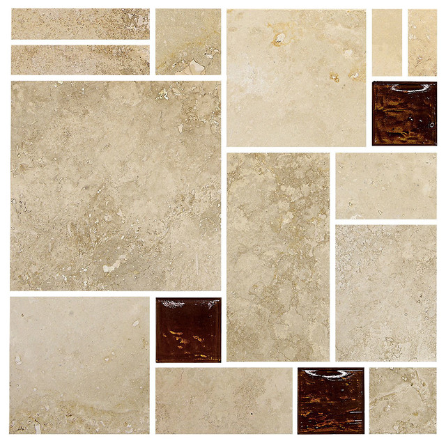 Travertine Brown Gl Mosaic Kitchen Backsplash Tile 12 X12