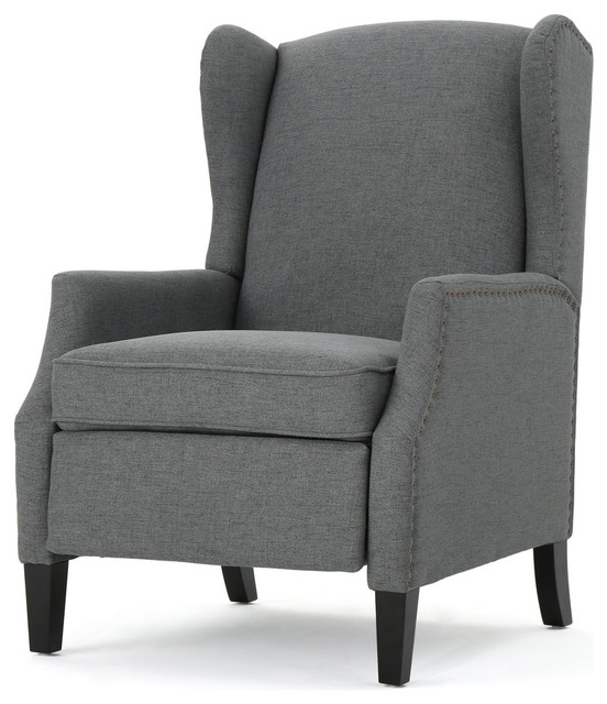 Weyland Wingback Traditional Fabric Recliner Charcoal transitional-recliner -chairs  sc 1 st  Houzz & Weyland Wingback Traditional Fabric Recliner - Transitional ... islam-shia.org