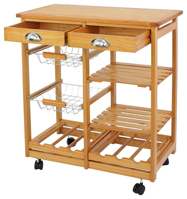 Modern Kitchen Island Cart, Pine Wood With 2-Drawer and Baskets Stand