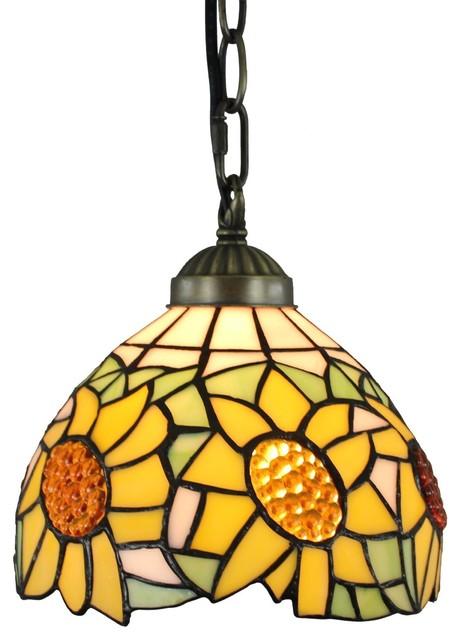 Amora Lighting Tiffany Style Sunflower 8-Inch Hanging Pendant Lamp.