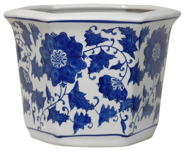 Oriental Furniture 10 Quot Floral Blue And White Porcelain