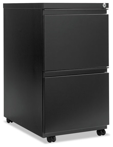 """Two-Drawer Metal Pedestal File With Full-Length Pull, Black, 14-7/8""""x23-1/8"""" - Contemporary ..."""