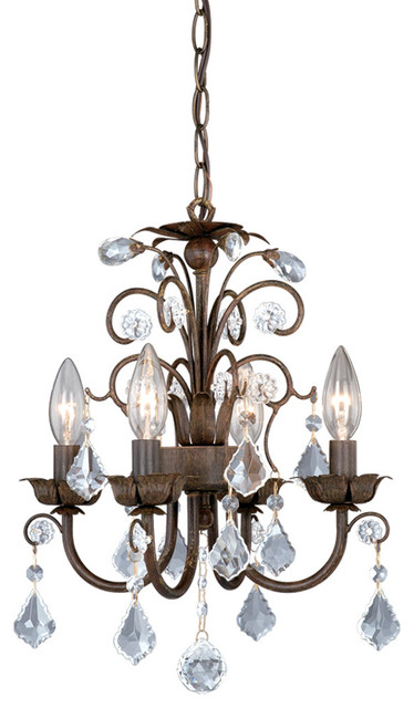 4-Light Mini Chandelier With Crystal Drops