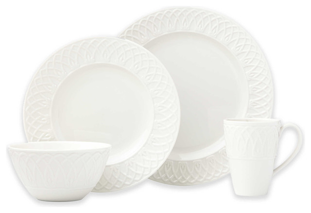 Lenox British Colonial Carved 4-Piece Dinnerware Set Set of 12  sc 1 st  Houzz & Lenox British Colonial Carved 4-Piece Dinnerware Set Set of 12 ...