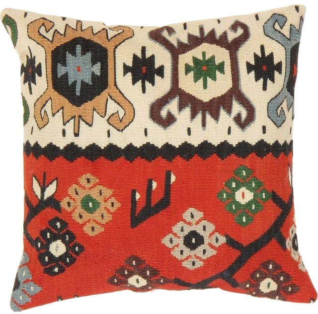 Southwestern Decorative Throw Pillows : Kilim Decorative Vintage Wool Throw Pillow- 16