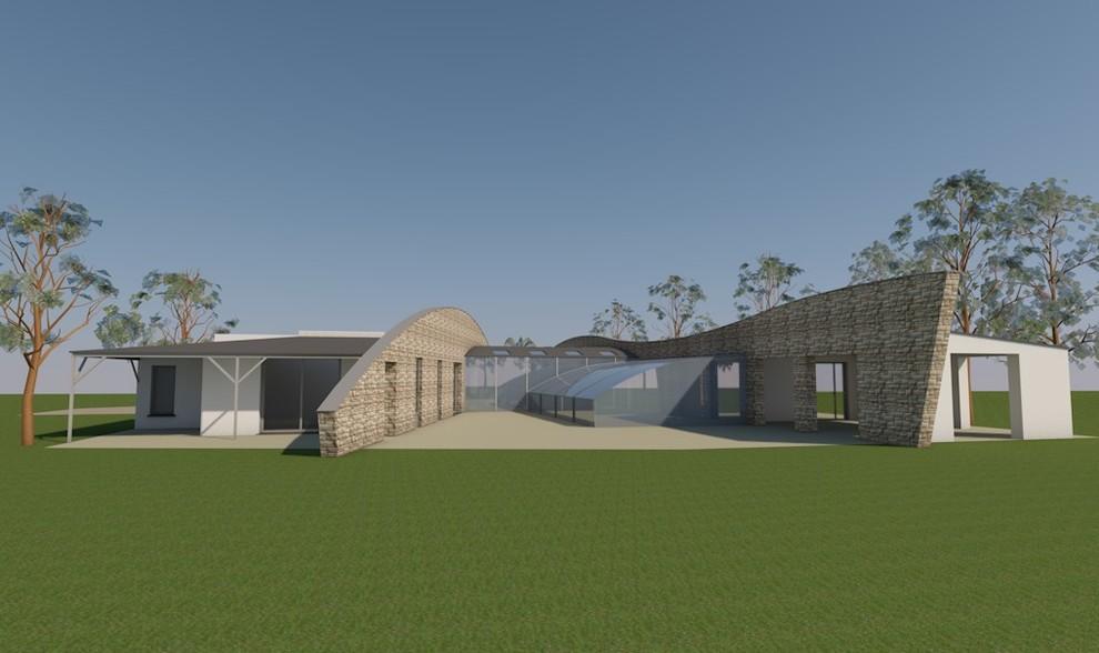 Vue 3D sur terrasses et piscine (sud)