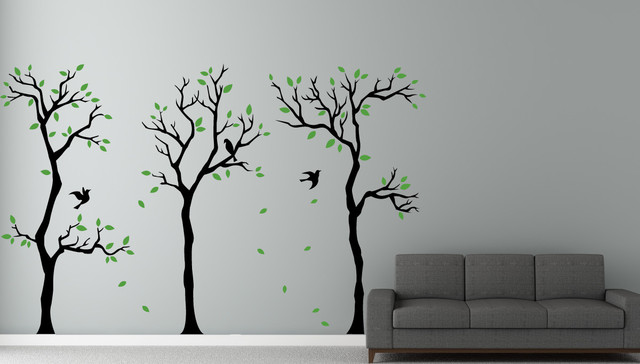 Black And White Wall Decals little forest trees wall decals - contemporary - wall decals -
