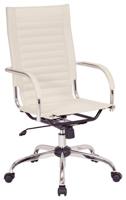 Trinidad High Back Office Chair With Padded Arms & Chrome Base, Cream.