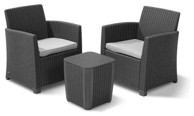 Keter Corona 3-Piece All-Weather Outdoor Patio Balcony Set, Graphite.