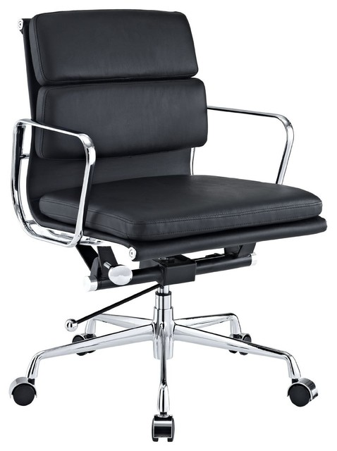 Modern Soft Padded Mid Back Office Chair, Black.