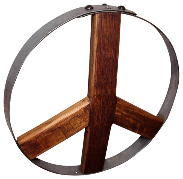 Rustic Metal Wall Art wine barrel peace sign, medium - rustic - metal wall art -eco