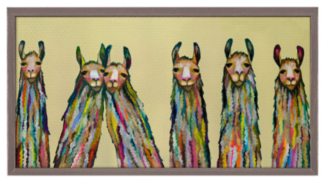 """Six Lively Llamas"" Mini Framed Canvas by Eli Halpin"