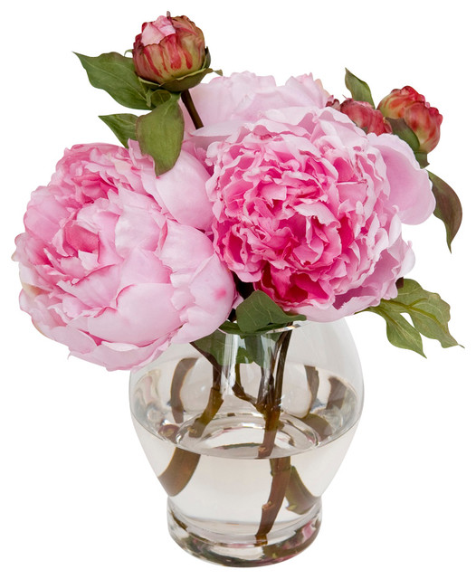 Vibrant Peonies Traditional Artificial Flower Arrangements By
