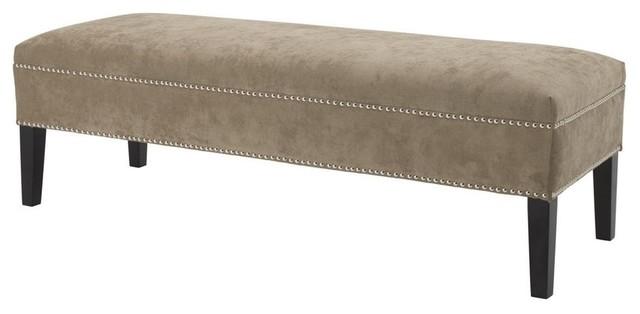 """Taupe Velvet Bench, Eichholtz Nicolette, Brown, 55""""x20""""x18""""."""