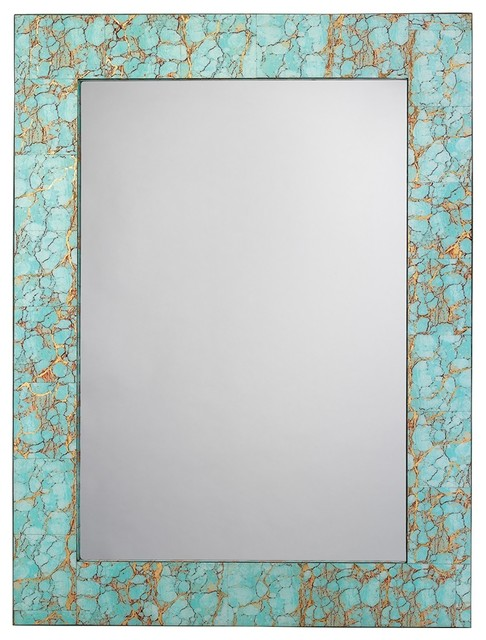 Rectangle Mirror In Turquoise Pebble. -1