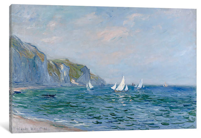 """""""Cliffs and Sailboats at Pourville """" by Claude Monet, 60x40x1.5"""""""