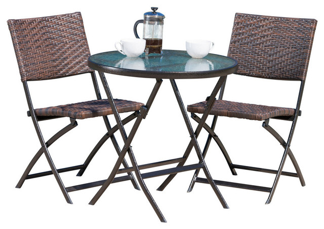 GDF Studio 3-Piece Cantinela Outdoor Wicker Folding Bistro